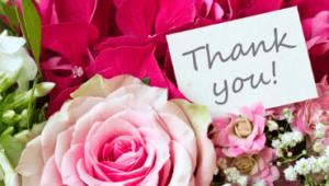 ピンクの花とThankyouのメッセージカード画像